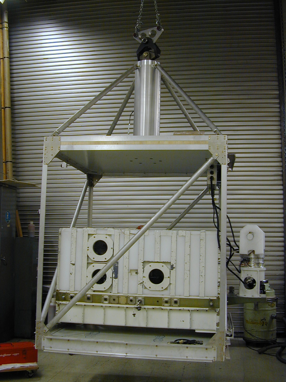 "Photos taken Oct 23, 2002 at JPL showing the 52"" bolt-together gondola on which MkIV was launched by CNES in Dec 2002 and April 2003"